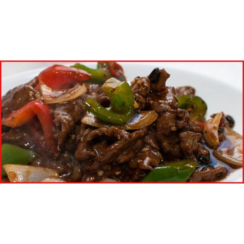 Beef with Green Pepper in Black Bean Sauce Chow Mein