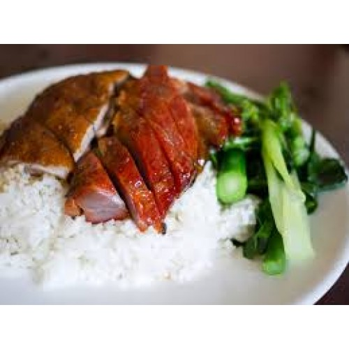 Roast Duck with Chinese Leaves & Boiled Rice
